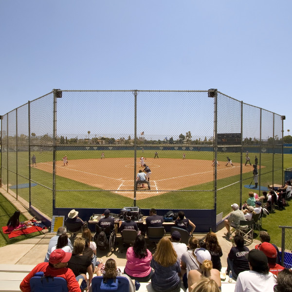 "Wide angle view of fans and parents watching a college softball game.  All team names and copyright/trademark logo's on fan attire have been removed, except for t-shirt backs stating ""Champions""."